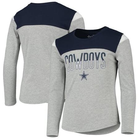 Girls Youth Gray Dallas Cowboys Morganne Long Sleeve T-Shirt
