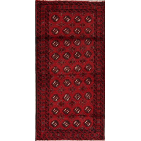BLACK FRIDAY DEAL All-Over Geometric Red Balouch Afghan Oriental Hand-Knotted Wool Area Rug 3x6