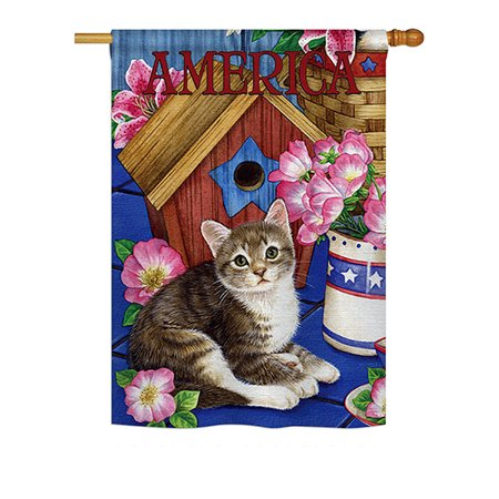 Ornament Collection - America Proud Kitten Cat Americana - Everyday Patriotic Impressions Decorative Vertical House Flag 28