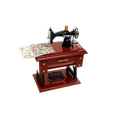 Vintage Look Retro Fantastic Mechanical Classical Table Desk Decoration Mini Sewing Machine Plastic Music Box Best Gift for Mother Kid Children
