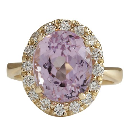 Diamond Kunzite Ring - 7.02CTW Natural Kunzite And Diamond Ring 14K Solid Yellow Gold