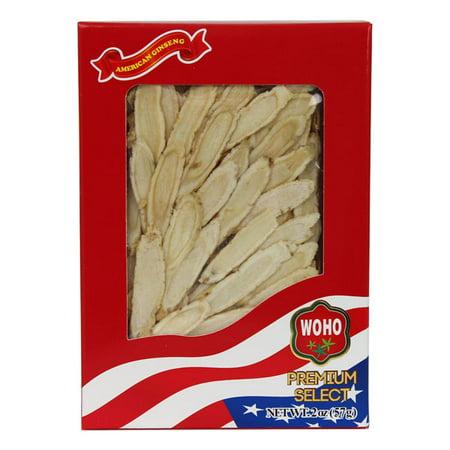 WOHO # 126,2 ginseng américain tranche moyenne 2 oz Box