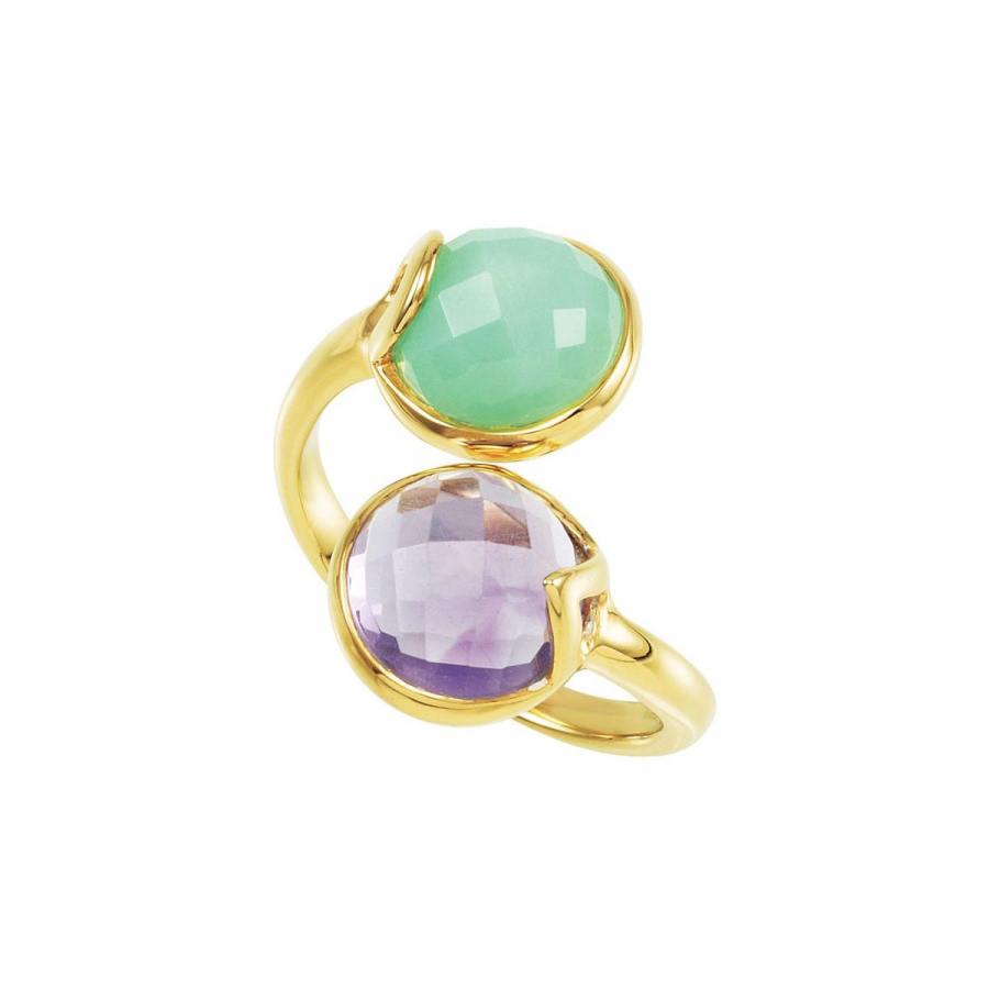 18kt Yellow Vermeil Amethyst & Chrysoprase Ring Size 8 68889   18Kt Yellow Vermeil   Finger Size 08.00   None   None by Midwest Jewellery