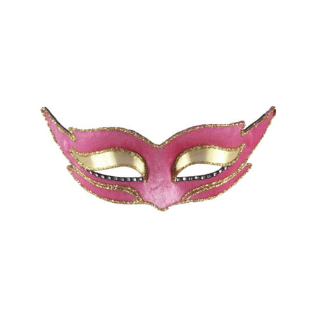 Halloween Pink Gold Rhinestone Glitter Pointed Venetian Carnival Glasses Mask