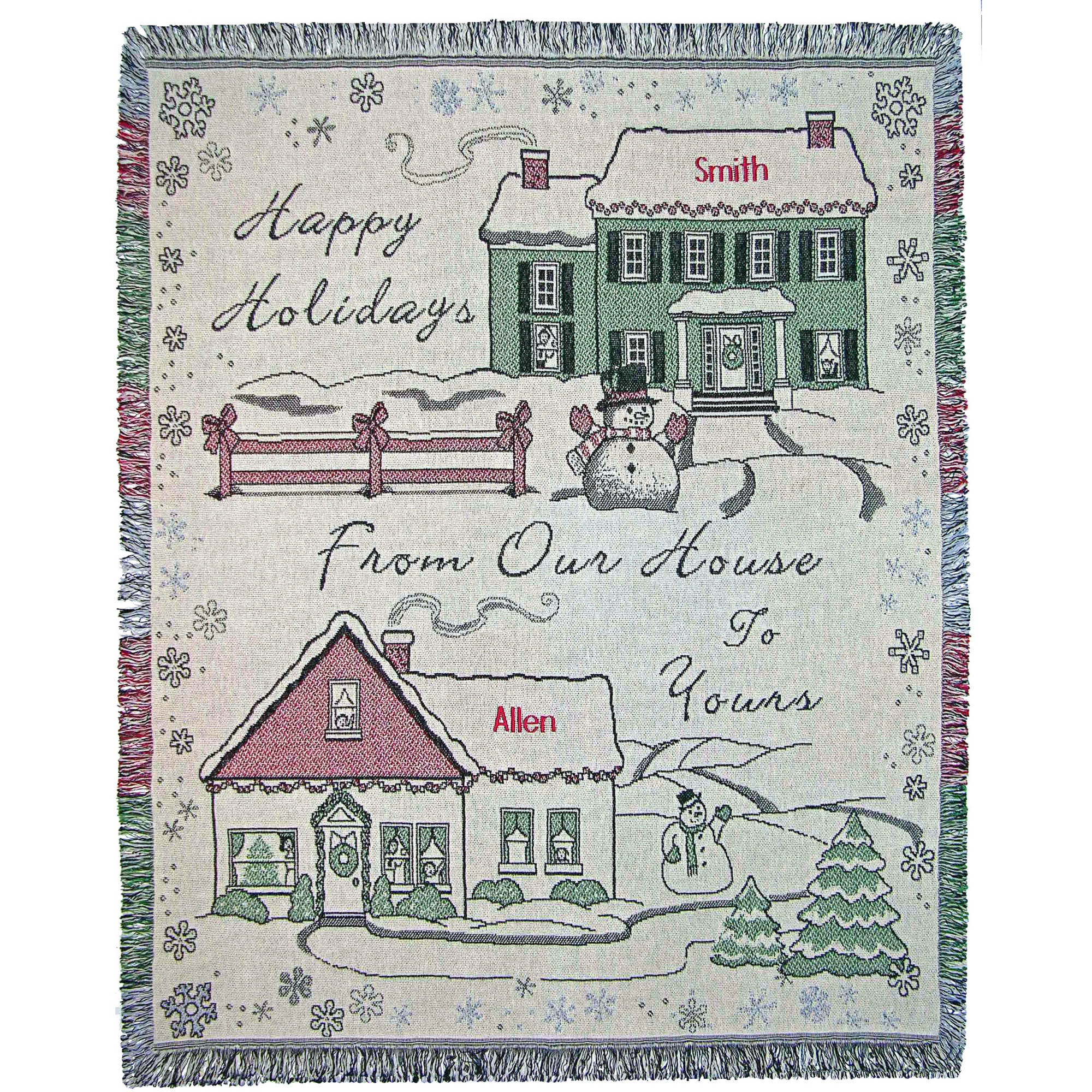 Personalized Happy Holidays, Our House to Yours Throw/Tapestry