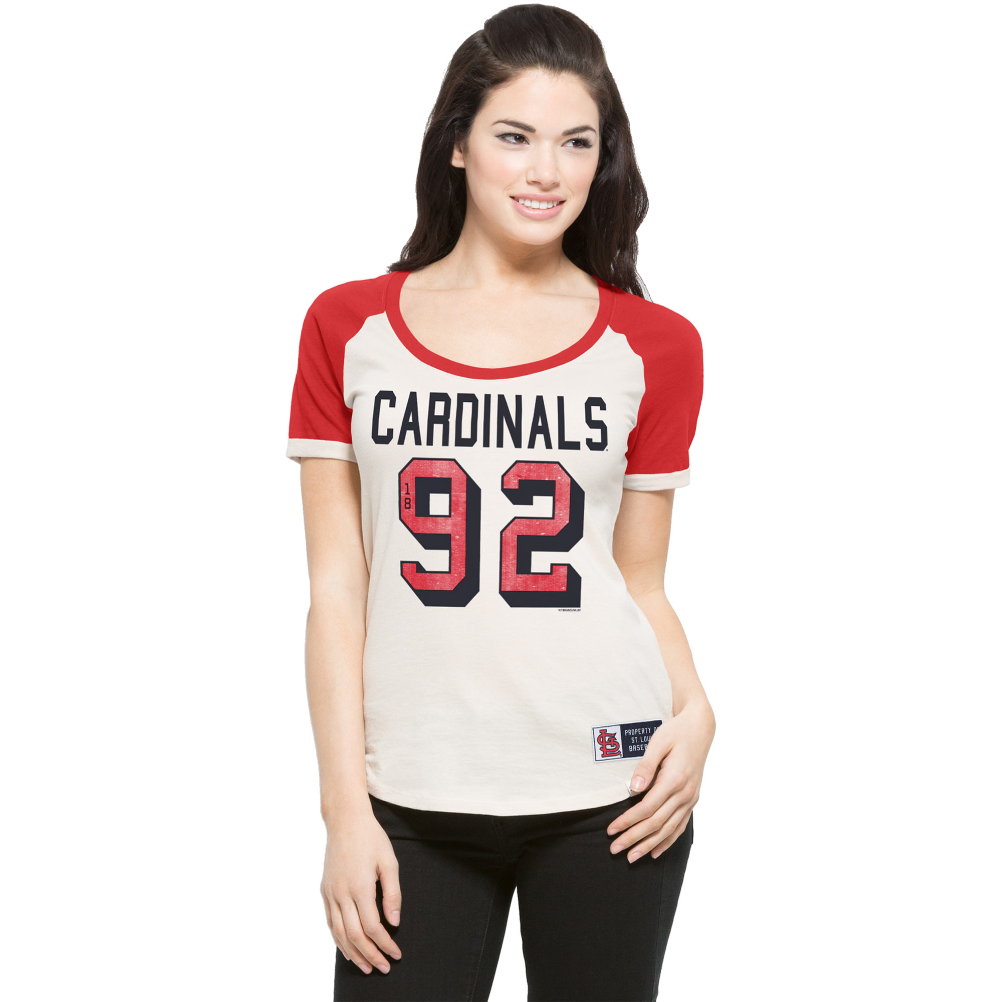 St. Louis Cardinals '47 Women's Triple Play Scoop T-Shirt - Cream