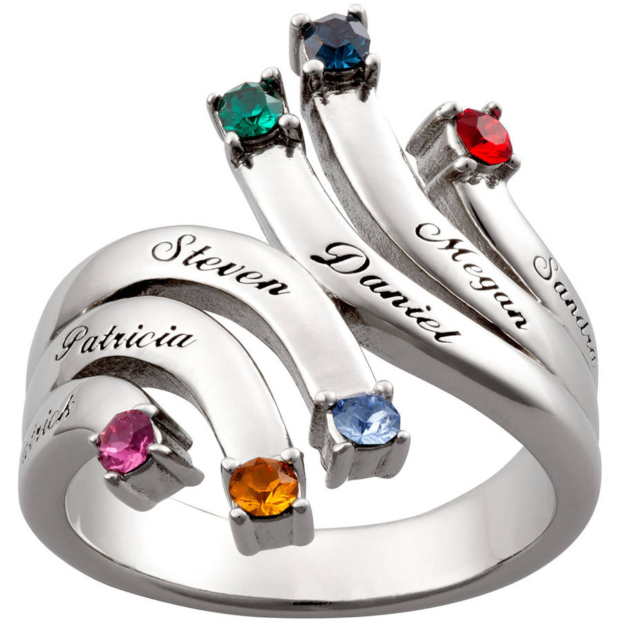 Personalized Mother's Rhodium-Plated Cascading Name and Birthstone Ring