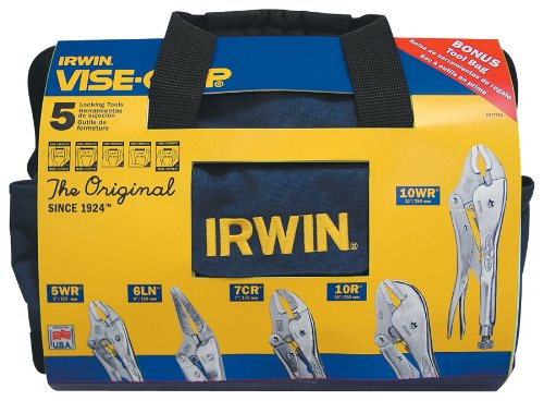 Vise Grip 2077704 5 Piece Locking Pliers Set In A Canvas Tool Tote Bag by Vise Grip