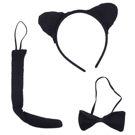 Lux Accessories Black Cat Kitty Ear Headband Halloween Costume Accessory Set - Kitty Cat Ears Halloween