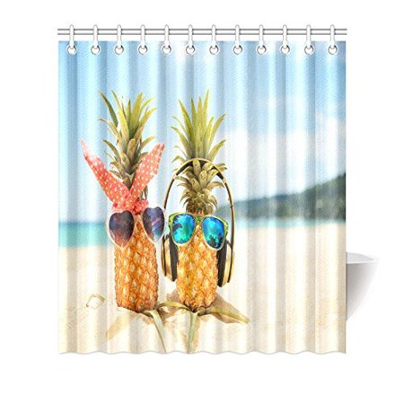 MYPOP Honeymoon Summer Beach of Tropical Island Decor, Funny Pineapples Wearing Sunglasses on the Beach Sand Fabric Bathroom Set with Hooks, 66 X 72 Inches Long, Blue Green Yellow - Funky Sunglasses