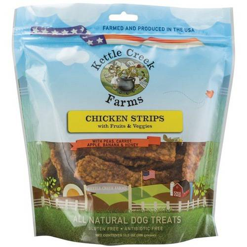 All Natural Kettle Creek Farms Dog Treats, 11.5oz, Chicken Strips with Fruits & Veggies