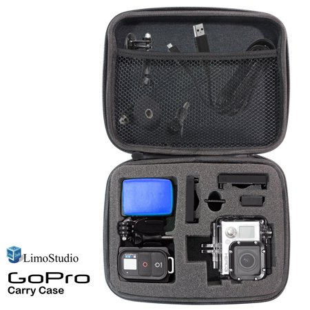 Loadstone Studio GoPro Hard Case Carry Bag with Net and Sponge Compartment for GoPro Camera, Shock Proof, Water Proof, Multi Functional, Medium Size, 8.5