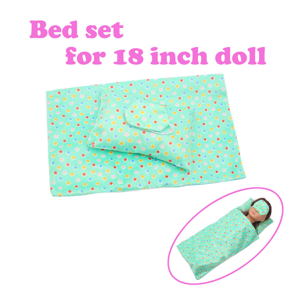 Iuhan Bedding Set Sleeping Bag For 18 Inch American Girl Doll Accessory Girl's Toy