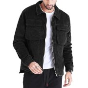 Men's Zip Up Pockets Causal Winter Warm Corduroy Jacket Outerwear Plain Coat