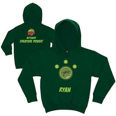 Personalized Wild Kratts Kangaroo Power Boys' Green Hoodie Green Kangaroo Hoody Sweatshirt