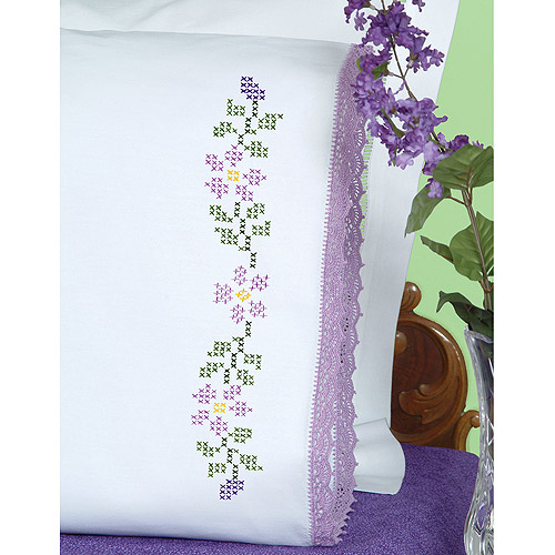 Jack Dempsey Starflowers Stamped Pillowcases With Hemstitched Edge