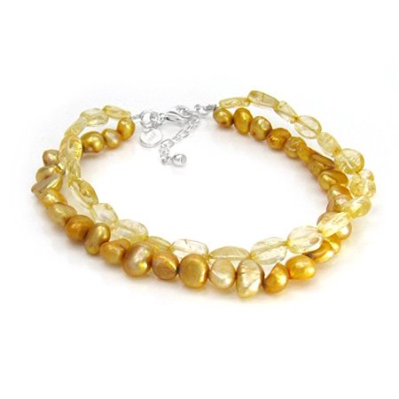 """Cultured Pearls and Stones Double Strand Sterling Silver 7 1/2"""" Extendable Bracelet, Citrine"""
