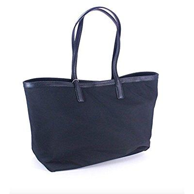 Tory Burch tote handbag nylon leather trim tb logo tory navy