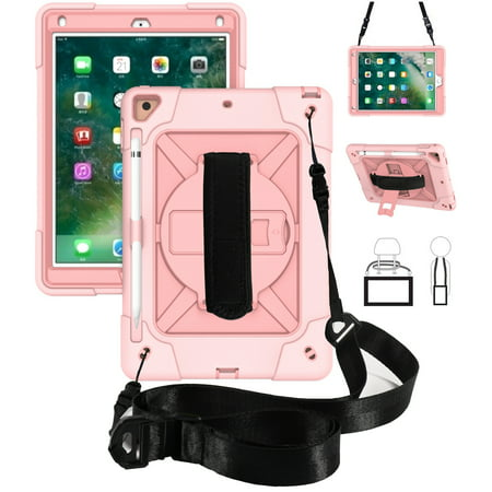 iPad 10.2 inch 2019 Shockproof Case, Dteck Heavy Duty Rugged 3 Layer Full Body Protection Case Kickstand with Shoulder Strap, Hand Strap, For iPad 10.2