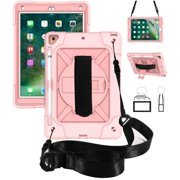 "iPad 10.2 inch 2019 Shockproof Case, Dteck Heavy Duty Rugged 3 Layer Full Body Protection Case Kickstand with Shoulder Strap, Hand Strap, For iPad 10.2"" A2200/A2198/A2232, Rosegold"