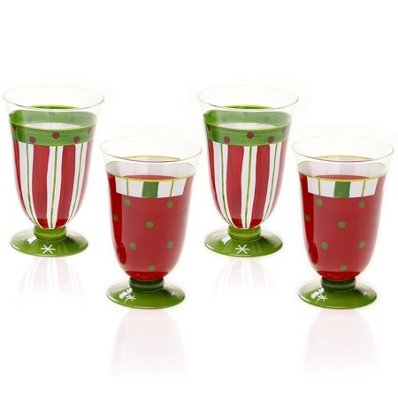 Christmas Drinking Glasses (Certified International Drinkware, Set of 4 Christmas Presents Assorted Glasses, Susan Winget CHRISTMAS PRESENTS Set of 4 Beverage Glasses By Susan)