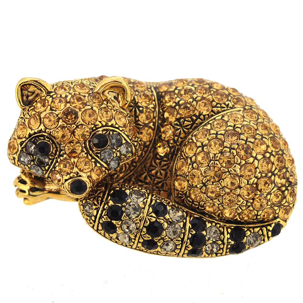 Golden Topaz Raccoon Animal Pin Brooch by