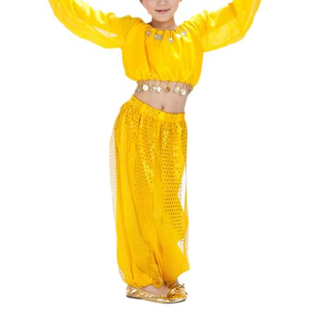 BellyLady Kid Tribal Belly Dance Costume, Harem Pants & Top Set For Christmas-Yellow-M - Harem Costume