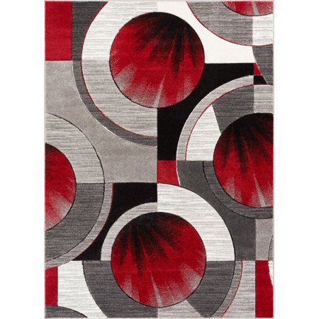 Well Woven Ruby Yolo Modern Contemporary Red Grey Abstract Shape 3'11