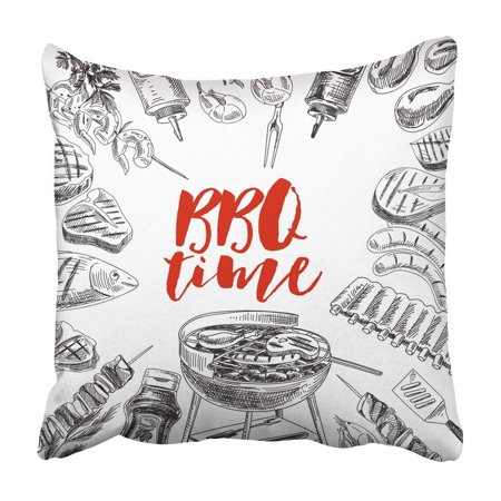 Cook Beef - ARTJIA Bbq Grill And Barbecue Vintage Style Retro Food Sketch Meat Barbe Que Beef Chicken Cook Pillowcase Cover 18x18 inch