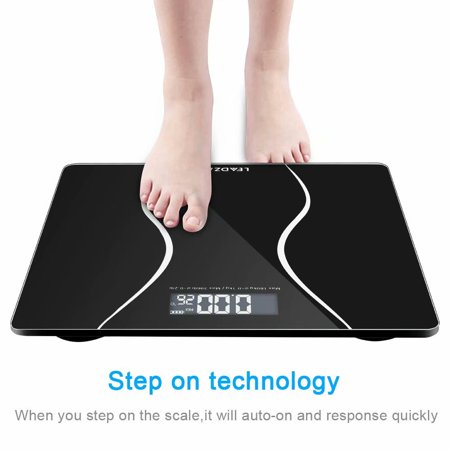 - 180kg/396lb Digital Bathroom Scale Toughened Glass Electronic Weight Scale Black