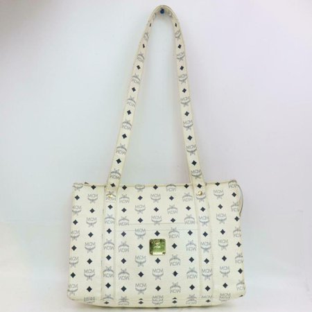Monogram Visetos Shopper Tote 870767 White Coated Canvas Shoulder Bag