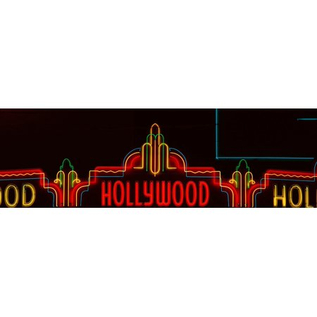 Neon Hollywood sign in panoramic format in Hollywood Los Angeles California Poster