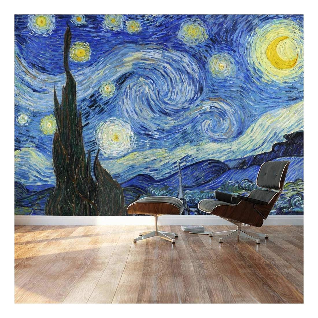 "Wall26 - Large Wall Mural - Famous Oil Painting Reproduction of Starry Night by Vincent Van Gogh | Self-adhesive Vinyl Wallpaper / Removable Modern Decorating Wall Art - 66"" x 96"""