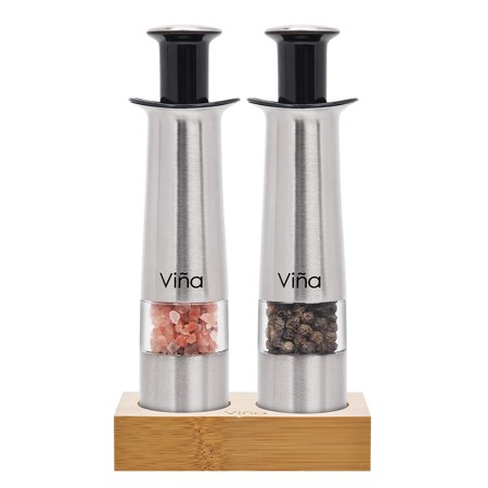 Vina Manual Salt Pepper Grinder Set with Bamboo Stand, Mini Stainless Steel Thumb Push Mills for Gourmet Home Restaurant Buffet, Pack of