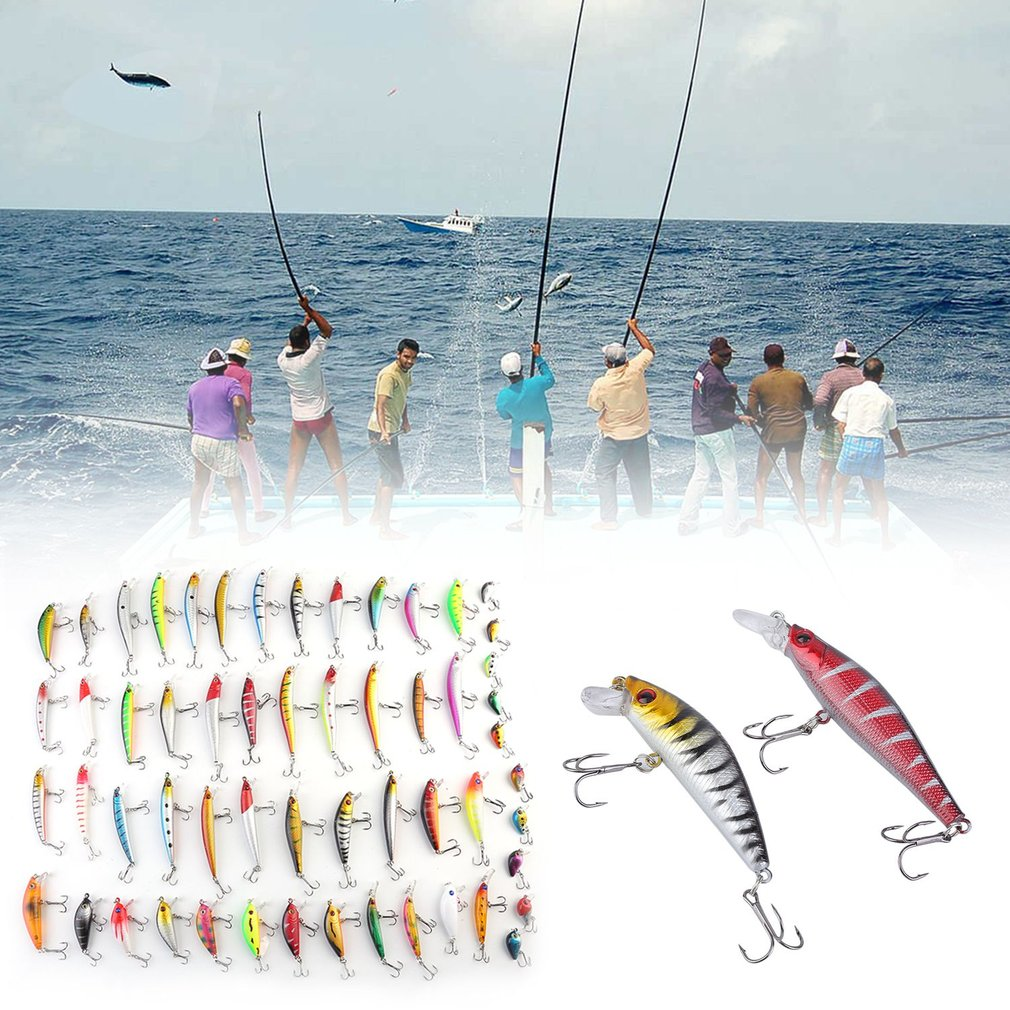 Click here to buy 56PCS Artificial Fishing Lures Bait Minnow Lure Crank Baits Tackle Hook by Generic.