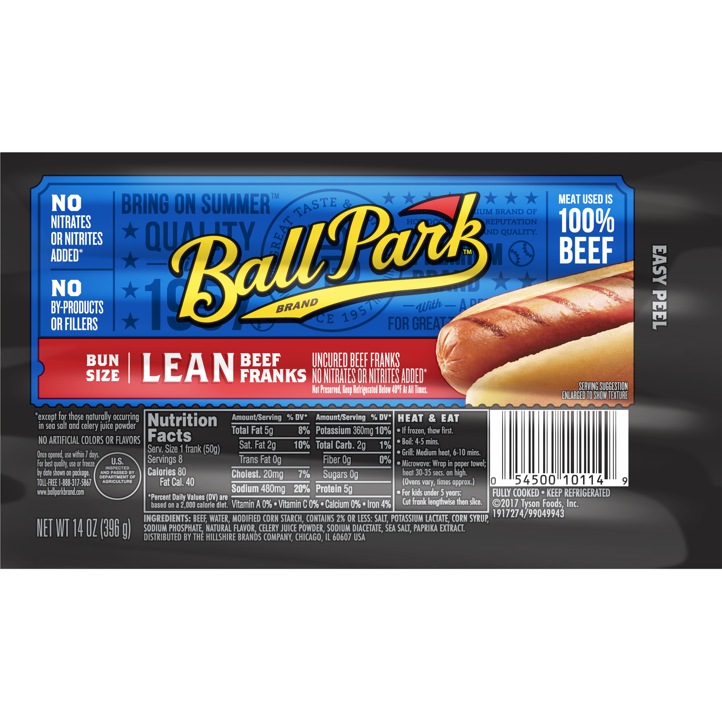 Ball Park® Lean Beef Franks, Original Length, 8 Count