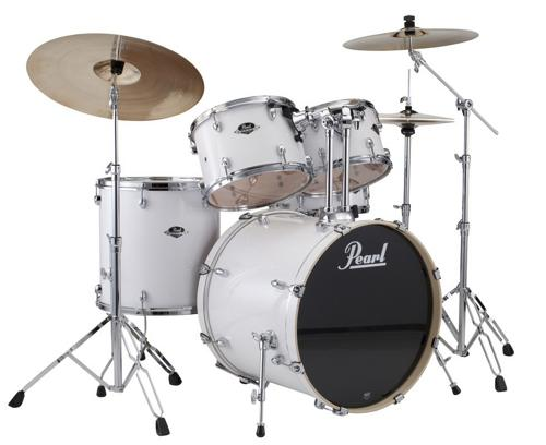 Pearl Export 5-Piece Drum Set with Hardware (Pure White) by