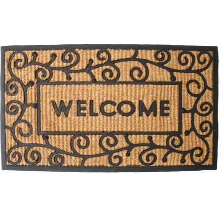 J & M Home Fashions Coir and Rubber Light Swirld Doormat 18x30