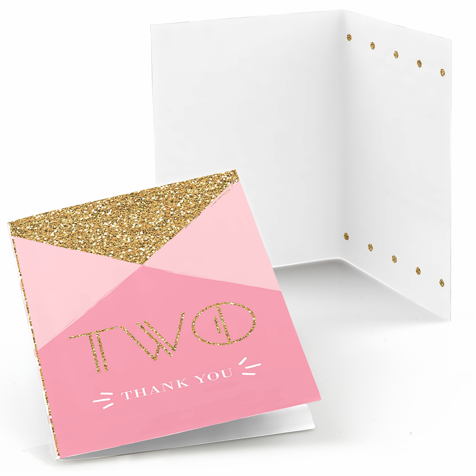 Two Much Fun - Girl - 2nd Birthday Party Thank You Cards (8 count)