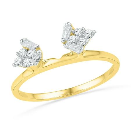 Size 7 - 14k Yellow Gold Baguette Diamond Ring Guard Wrap Solitaire Enhancer (1/4 Cttw) ()