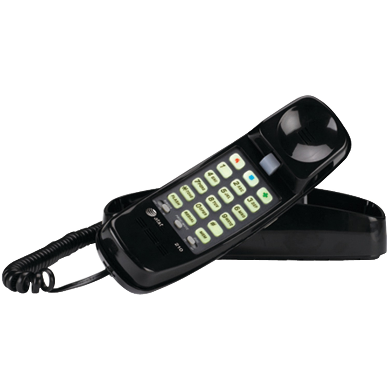 AT&T ATTML210B Corded Trimline Phone With Lighted Keypad (Black)