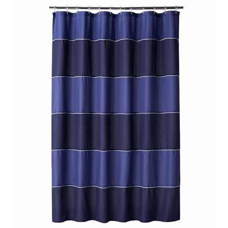 Home Classics Dark Blue Stripe Fabric Shower Curtain Bath Decor