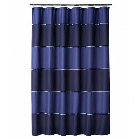 home classics dark blue stripe fabric shower curtain bath decor. Black Bedroom Furniture Sets. Home Design Ideas