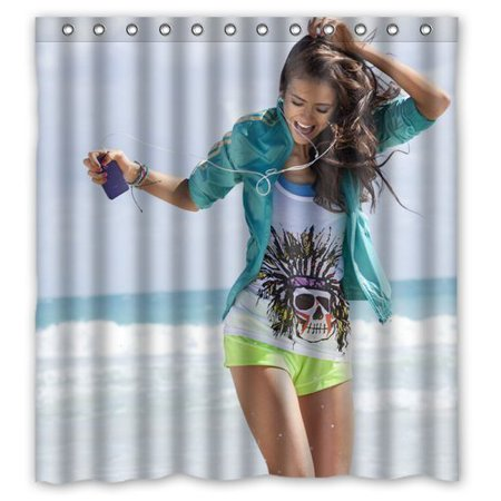 Deyou Print Sexy Actress Nina Dobrev Hot Woman Shower Curtain Polyester Fabric Bathroom Shower Curtain Size 66X72 Inches