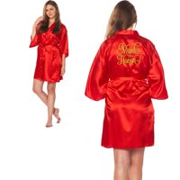 d56d8803549 Product Image Maid of Honor Gold Embroidered Wedding Bathrobe Satin Robes  Bridal