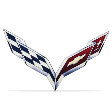 "C7 Corvette Stingray Crossed-Flag Emblem Metal Sign 6"" x 4"""