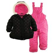 Pink Platinum Little Girls' Snowboard Puffer Jacket and Snowpants Snowsuit Set