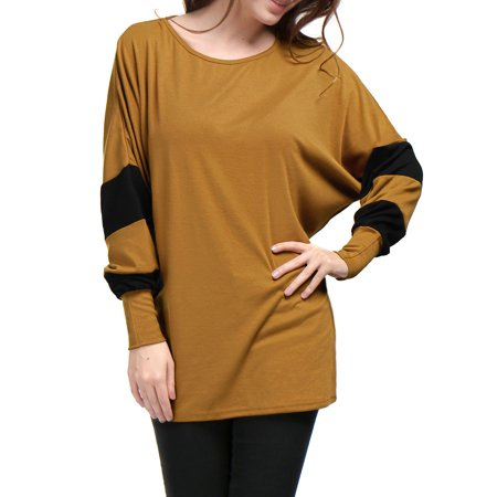 Unique Bargains Women Batwing Sleeve Color Block Loose Tunic Top Brown L - image 1 of 7