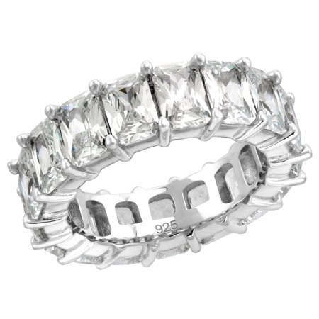 Sterling Silver 6X4mm Radiant Cut CZ Eternity Band for Women Claw Setting Rhodium Finish 1/4 inch wide size 9 (Wide Band Setting)