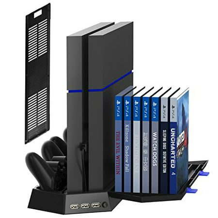 Kootek Vertical Stand for PS4 / Slim Cooling Fan Controller Charging Station with Game Storage and Dualshock Charger ( Not for PS4 Pro